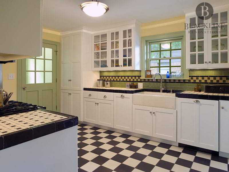 Black White Green Kitchen with Custom Ceramic Tile in Lakewood Hills Dallas