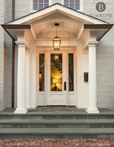 Painted Brick, Columns, Blue Stone Porch, Brick Path, Painted Brick, Hanging Lantern
