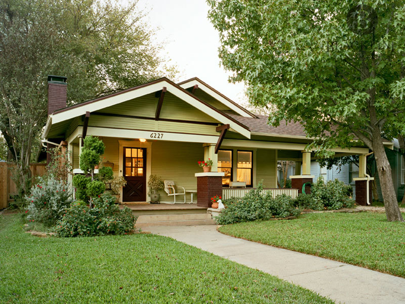 Front Exterior Entrance Yellow House Porch Lakewood Heights Dallas