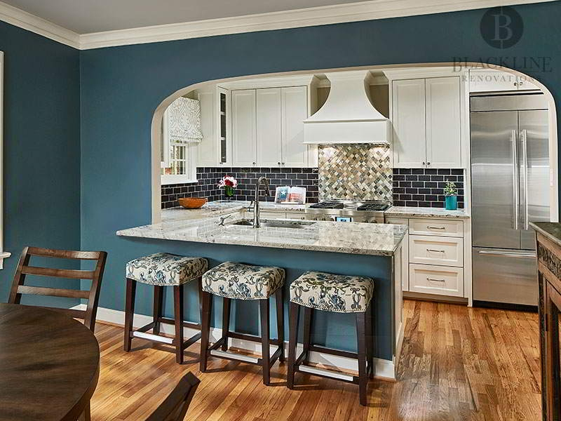 Blue and White Kitchen with Marble Counter Dallas