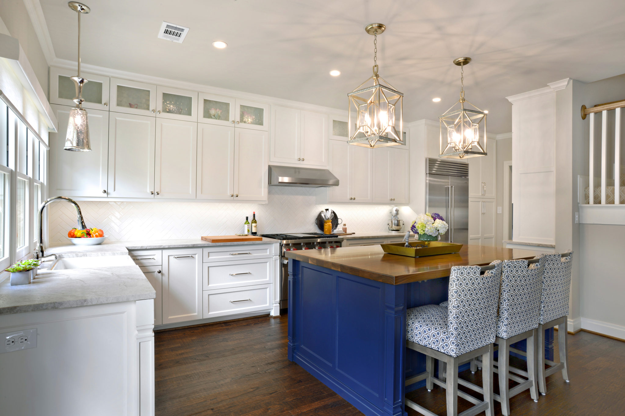 White and Blue Kitchen with Island in University Park Dallas